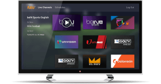fubo TV home screen on a smart TV.