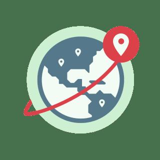 Globe showing VPN server locations.