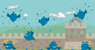 Twitter birds smashing into a fence.