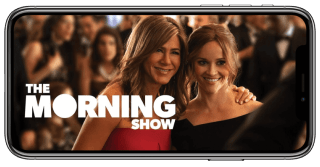 Apple TV+ show The Morning Show streaming on a phone.