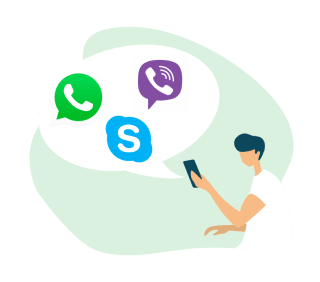 Using Skype, WhatsApp, and Viber on a mobile device.