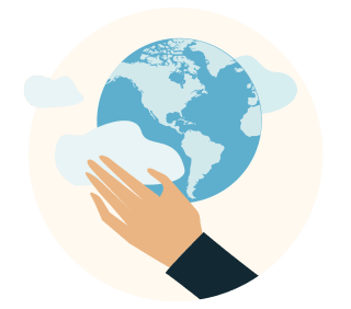 A globe held in an outstretched hand.