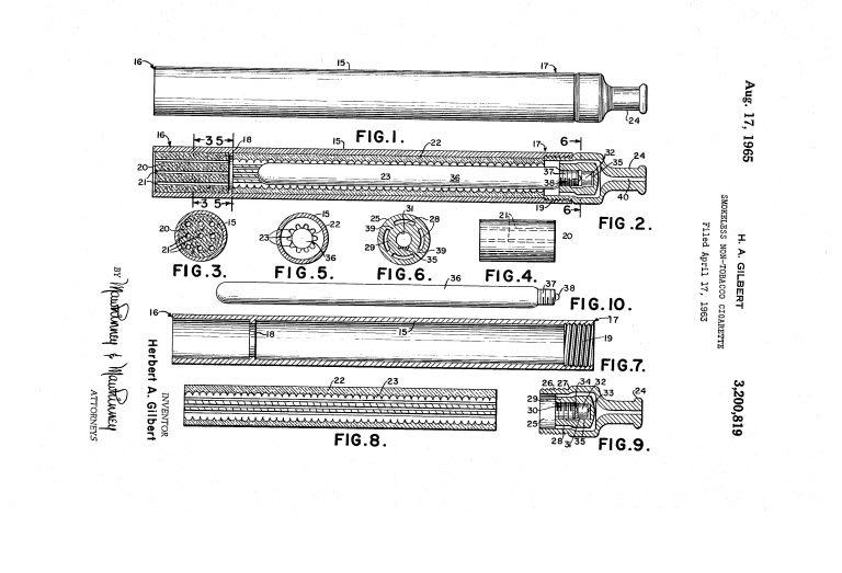 Il brevetto per la sigaretta senza fumo è stato depositato nel 1963