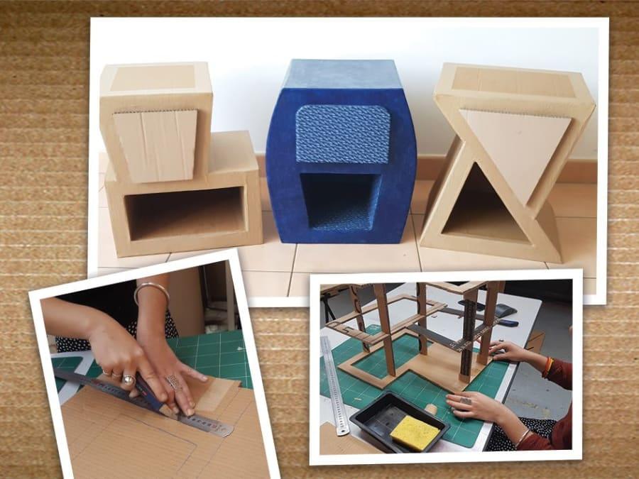Atelier fabrication de table de nuit en carton à Montreuil (93)