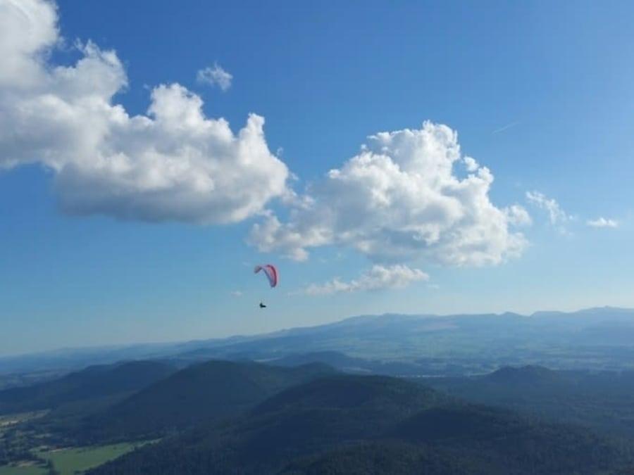 Vol de découverte en Parapente biplace au dessus du Puy de Dome