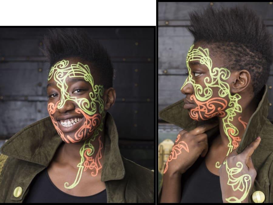 Maquillage & tatoo tribaux – classique/phosphorescent