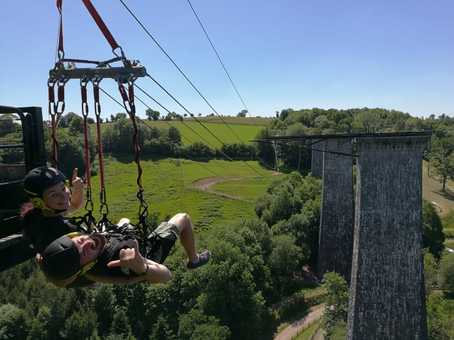 Saut pendulaire- Top swing depuis le Viaduc de la Souleuvre