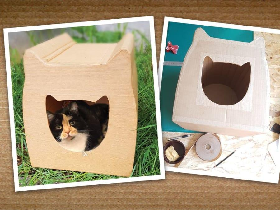 Atelier DIY cabane à chat en carton recyclé à Montreuil (93)