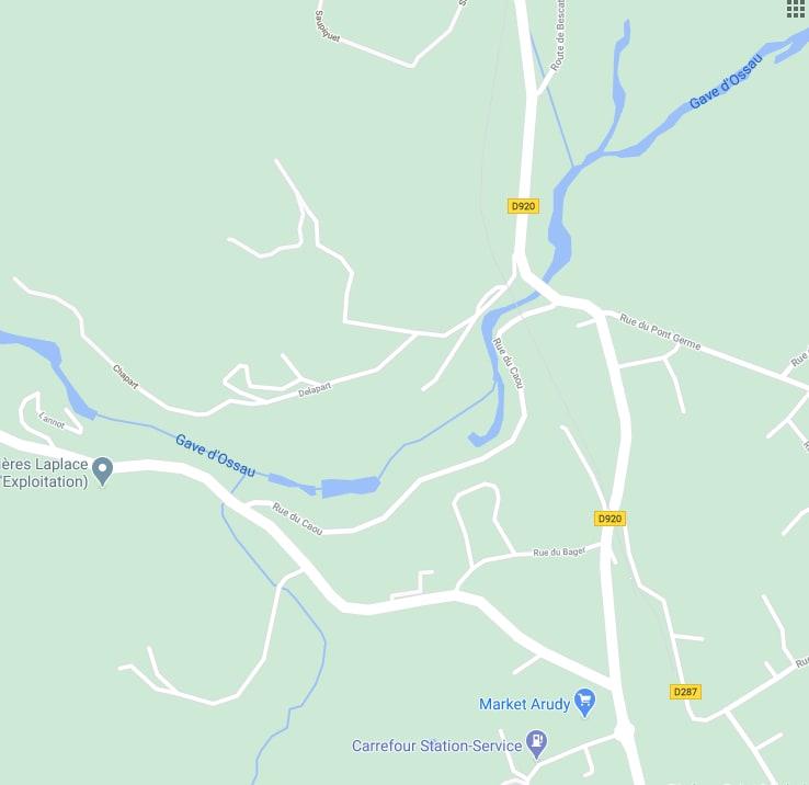 Carte d'Arudy et de la rue du Caou