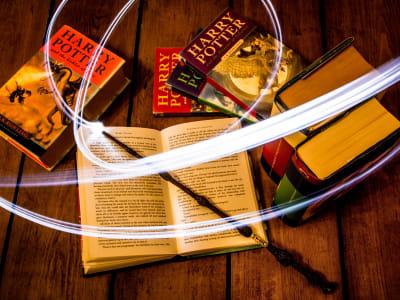 livres harry potter avec une baguette magique