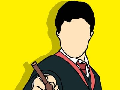 dessin d'un écolier avec une baguette magique