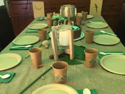 table d'anniversaire décorée koh lanta