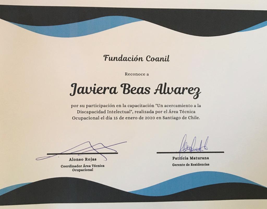 Diploma de capacitación Fundación Coanil