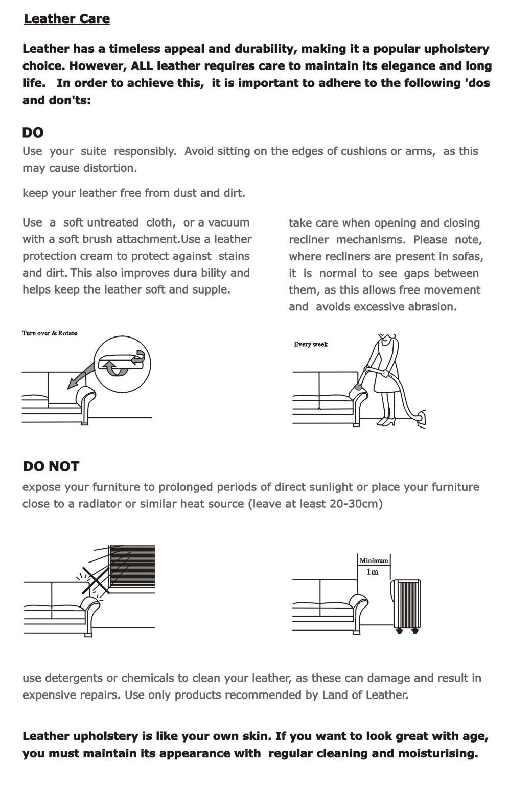 Sofa Care Instructions