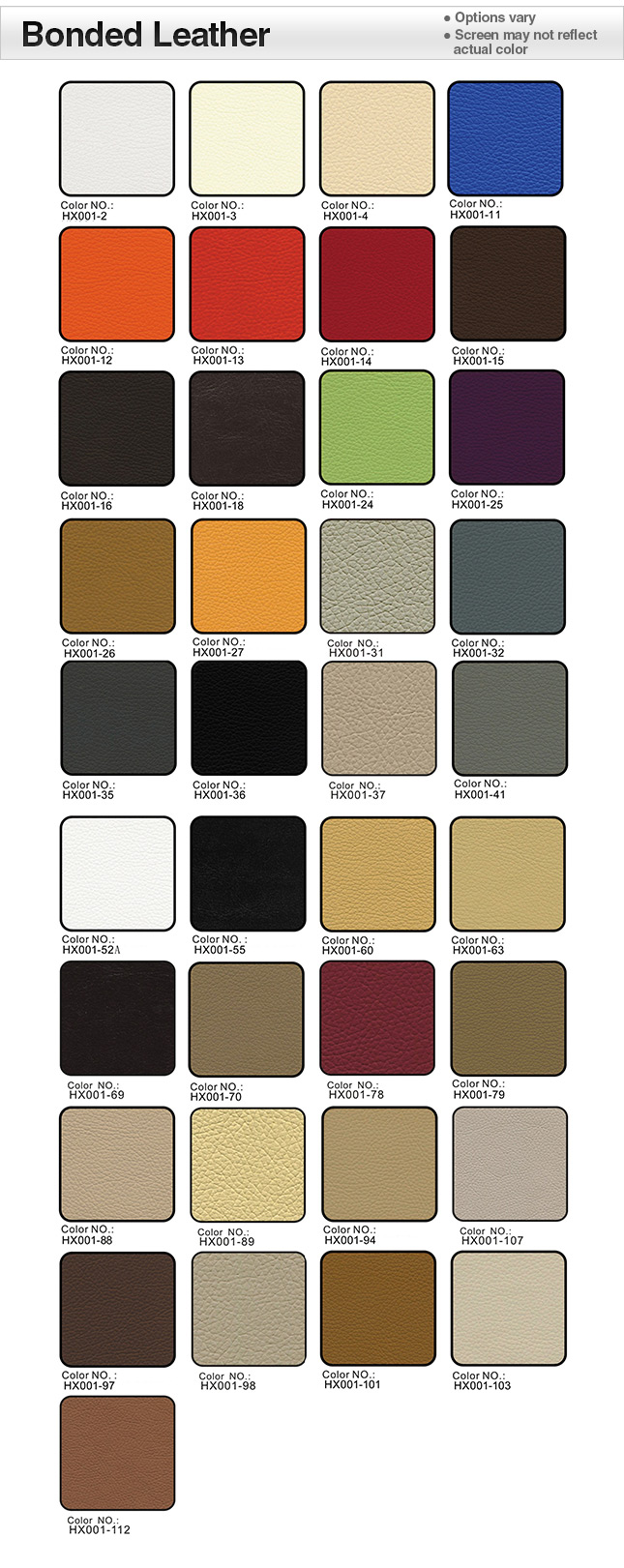 Bonded Leather Swatches