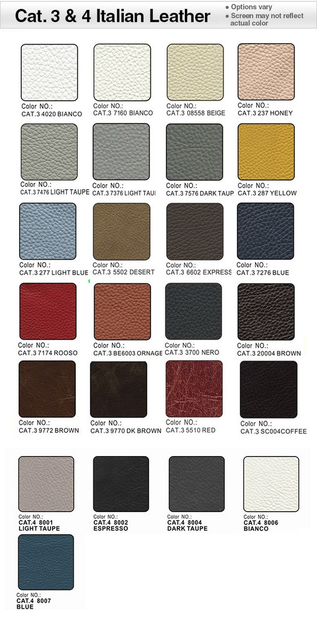 Category 3 Italian Leather Swatches