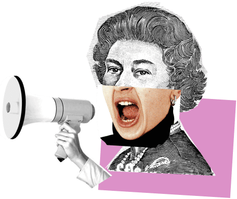 A collage of the queen and a megaphone
