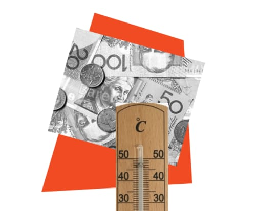 A thermometer and money