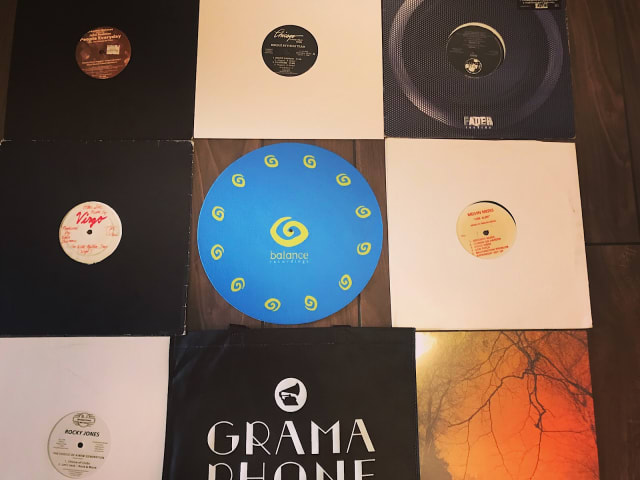 Records and slipmats purchased from Gramaphone Records, Chicago, in August 2018