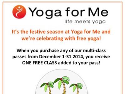 December Deal at Yoga for Me - FREE YOGA!