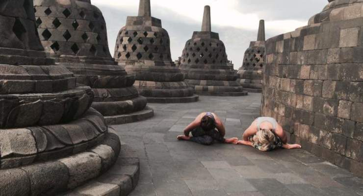 Gomukasana at Borobodur Temple Indonesia
