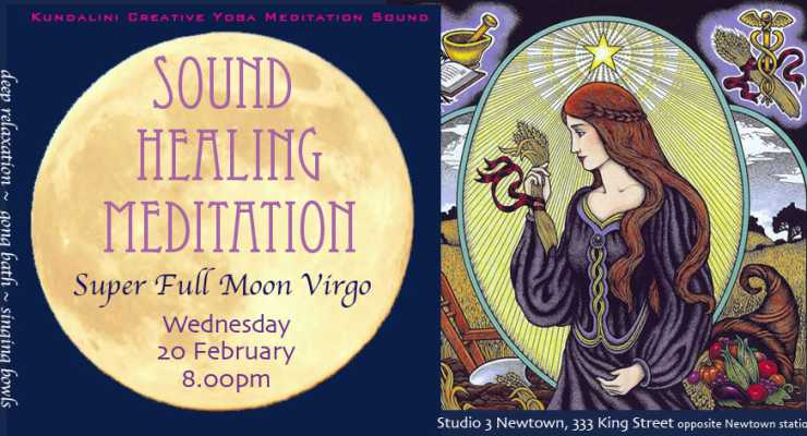 Full Moon in Virgo Sound Healing Gong Meditation : Studio3 Newtown : Wednesday 20 February 8.00pm