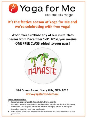 December Deal at Yoga for Me - FREE YOGA!