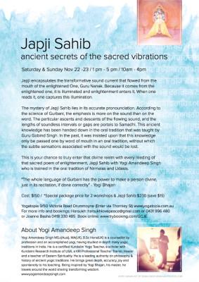 Japji Sahib - Meditation of the Soul - A Kundalini Yoga workshop with Yogi Amandeep Singh