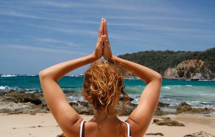Beach retreat yoga