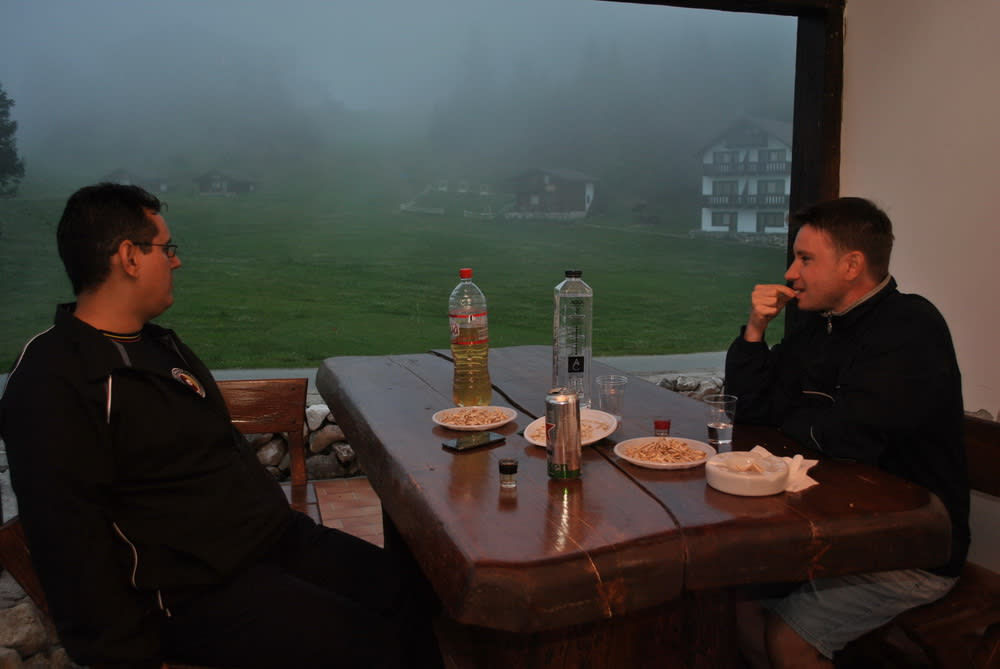 Quality evening in a foggy atmosphere
