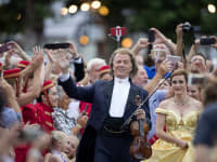 The King of Waltz Andre Rieu Waves to Crowd