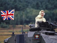 12. UK PM Margaret Thatcher in Chieftain tank. Germany 86. LO RES COPYRIGHT PETER JORDAN saunwk