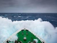 Ellesmere Island Boat Front Crashing Through Waves