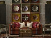 Bloomsbury Sofa in Es Cavalet 3 fabric with Friendly Folk Huntsman Red and Melon Orange Cushions and Wychood Huntsman Red Wallpaper