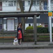 Kelly Convey Dressed Up at Bus Stop