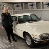 Women Behind the Wheel Beryl With White Jaguar Smiling