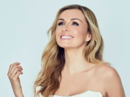 Back Out There Katherine Jenkins White Dress Smiling Up