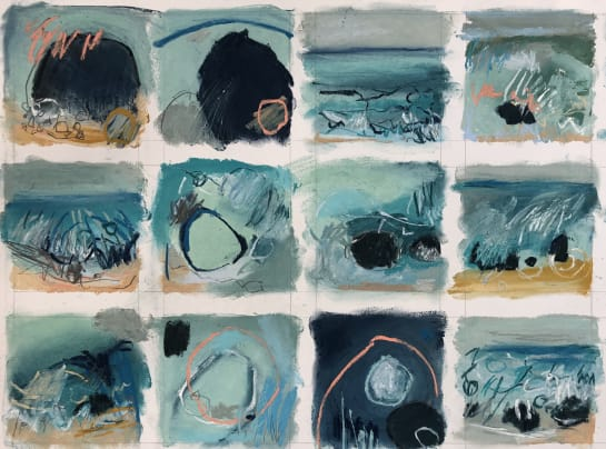A Berrett Series of 12 10 x 10cm drawings in repsonse to The Sea