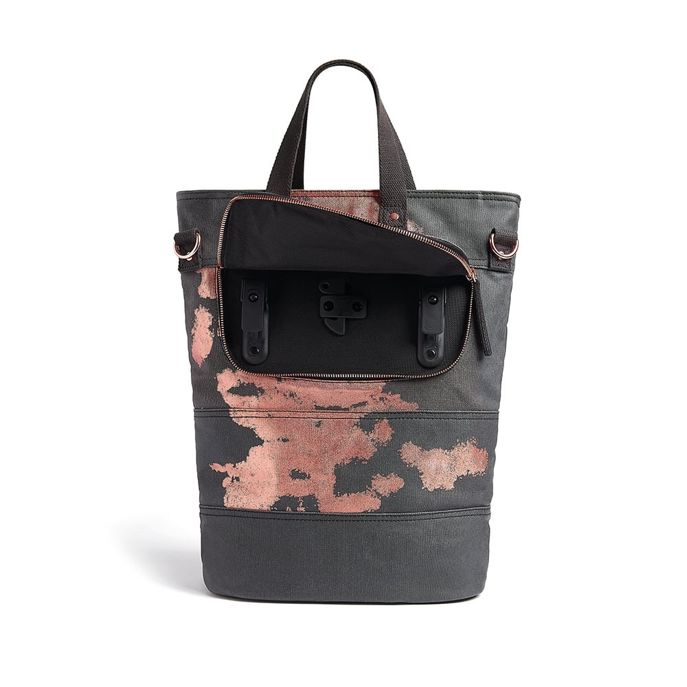 Rusty Charcoal and Copper Paint Print bike bag 3