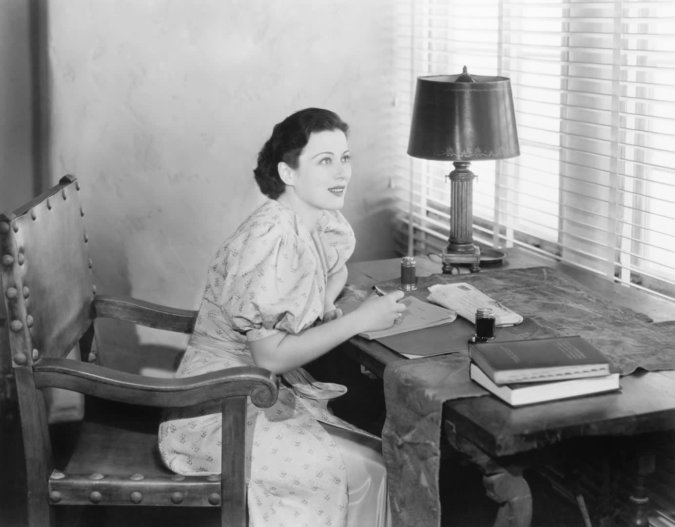 Page Turner Woman at Desk Writing Fountain Pen Black and White