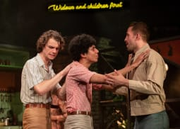 L R Matthew Needham Arnold Jay Lycurgo David and Dino Fetscher Ed   Torch Song. Turbine Theatre. Photo Mark Senior 68 zkmoew