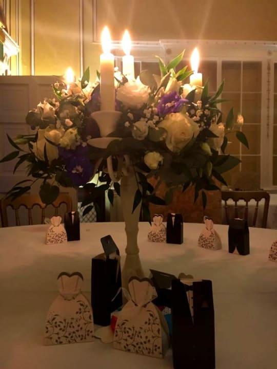 Donnington Grove Country Club Weddings  centre piece close up