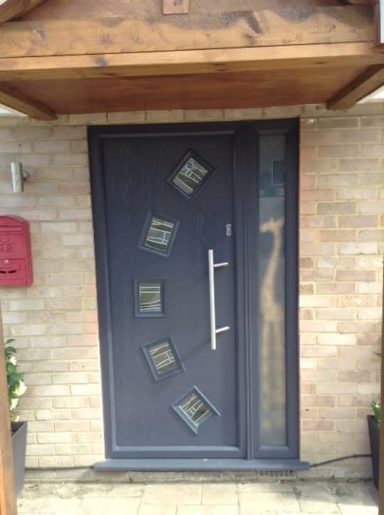 Tropiglaze Dark Grey Stained Glass Door