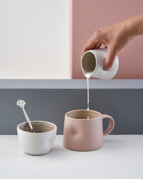 Emma Lacey Everyday Short Cup in Pink Sugar Bowl and Small Milk Jug   Small b8byaf