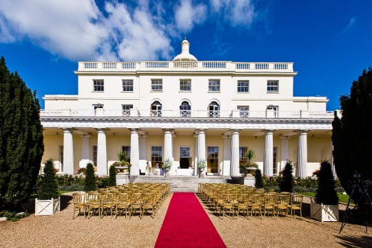 Stoke Park outdoor wedding ceremony layout