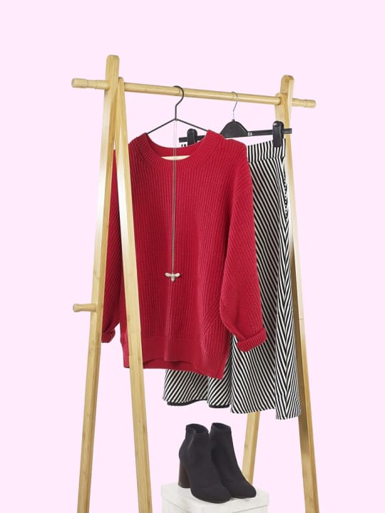 Clarendon Red Jumper Outfit
