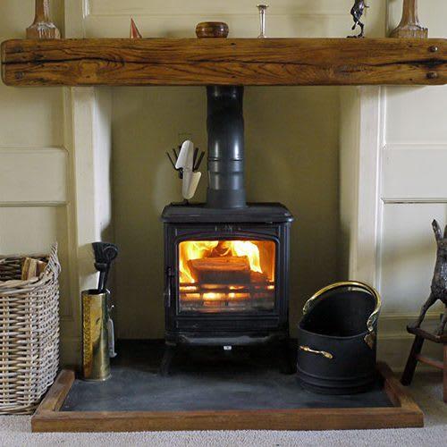 Iron and Wood oak fireplace beam