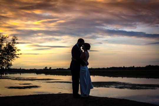 The Perch Free House Weddings Couple by Lakeside at Sunset