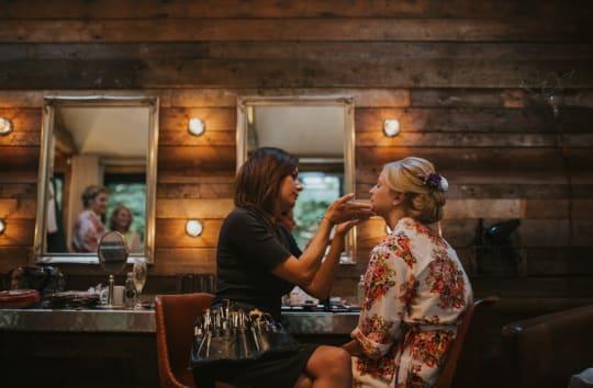 Tythe Barn Wedding Bridal Makeup in The Nook