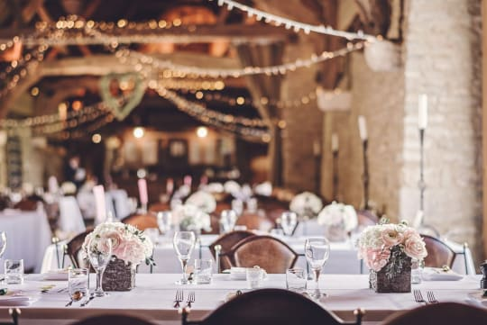 Tythe Barn Wedding Reception setting
